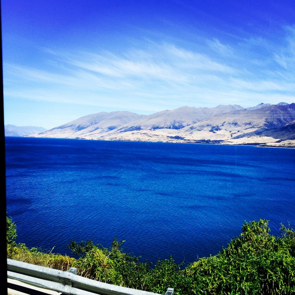 Navy blue waters of Lake Wanaka, New Zealand