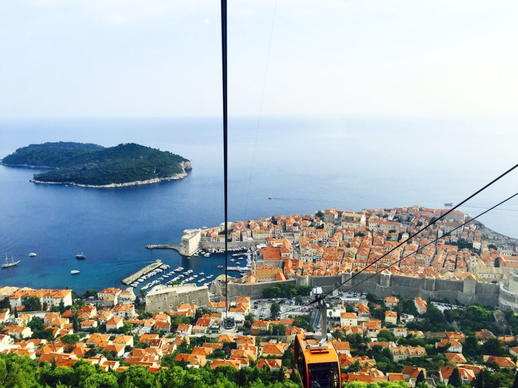 The historical city of Dubrovnik, from the hill