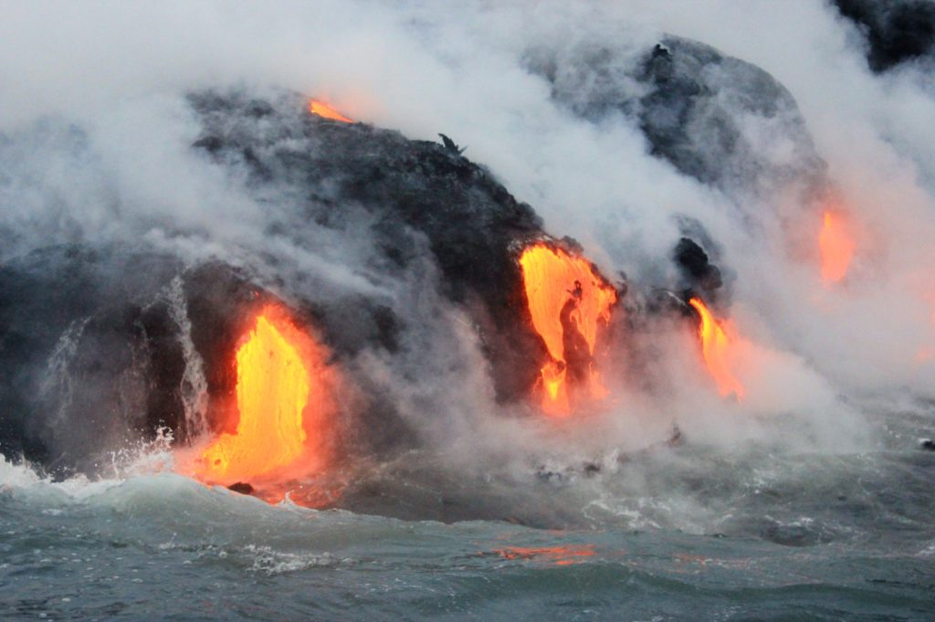 Lava from the live volcano in Hawaii