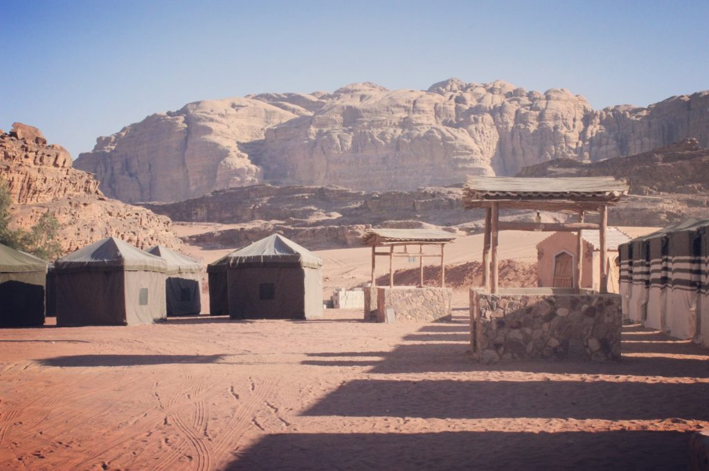 Camping amidst dramatic sandstone mountains of Wadi Rum, Jordan