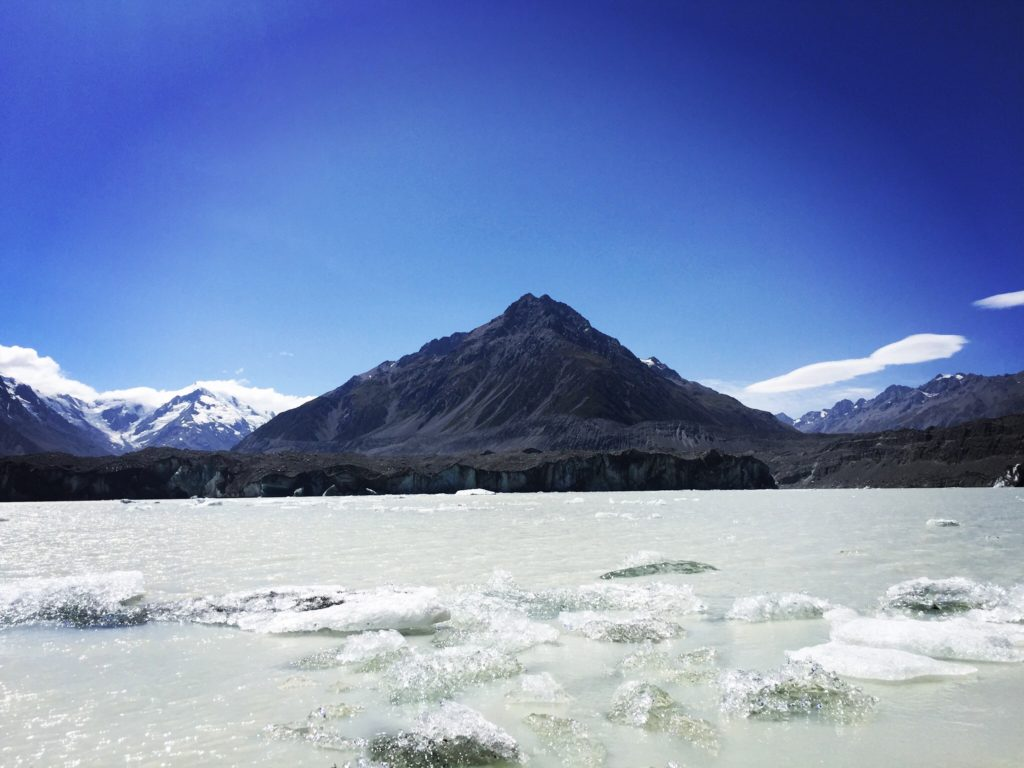 Ice floating on the glacier lakes of New Zealand
