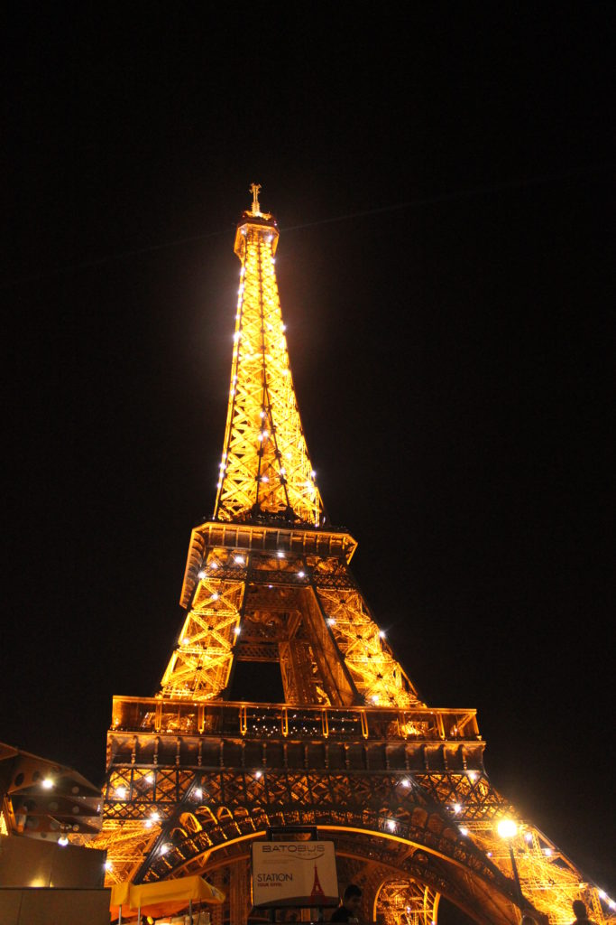 Night views of the world's most visited attraction, Eiffel Tower, Paris
